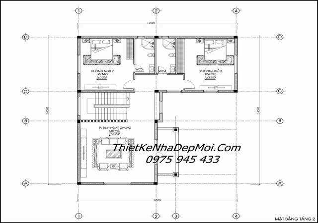Mặt bằng thiết kế biệt thự 3 tầng 12x15