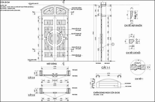 kích thước cửa chính 2 cánh bằng gỗ