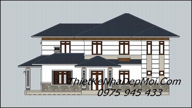 Bản vẽ nhà một trệt một lầu mái ngói