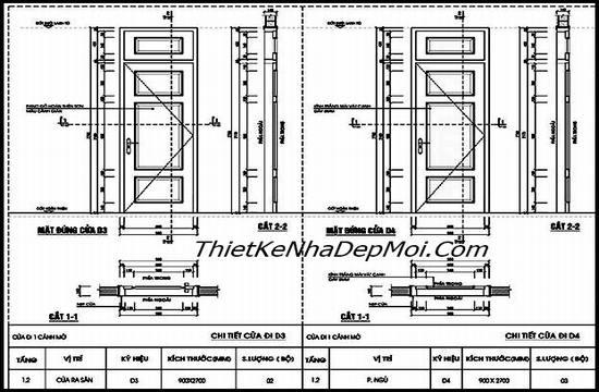 Bản vẽ kích thước cửa 1 cánh