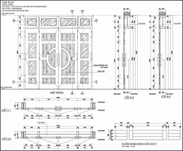 Bản vẽ kích thước cửa gỗ nhà phố 4 cánh