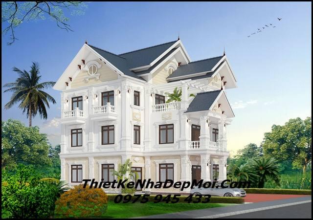 Kiến trúc biệt thự 3 tầng đẹp mái thái