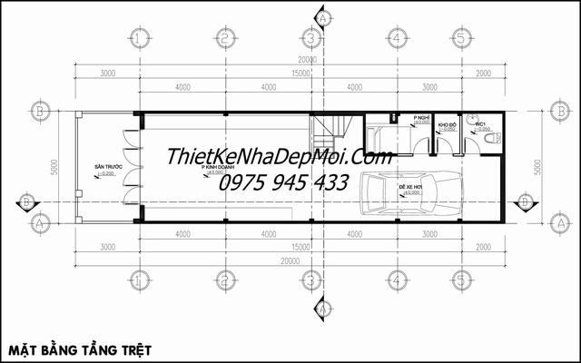 Bản vẽ nhà 5x20 có gara kinh doanh 4 tầng