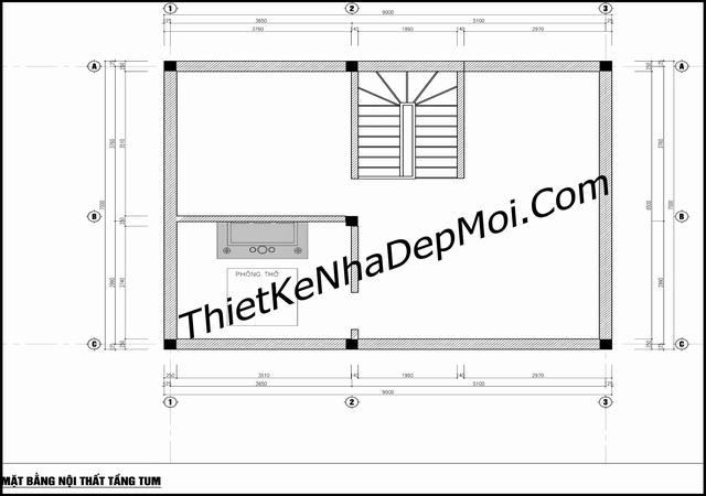 Bản vẽ nhà 3 tầng đơn giản rộng 7m