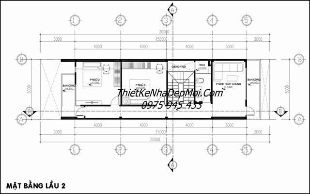 mặt bằng nhà phố 4 tầng 5x20