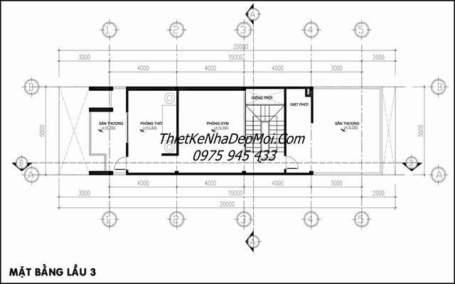 bản vẽ nhà ống 4 tầng 5x20m