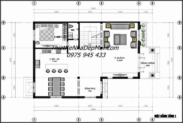 Mặt bằng biệt thự 3 tầng 10x15