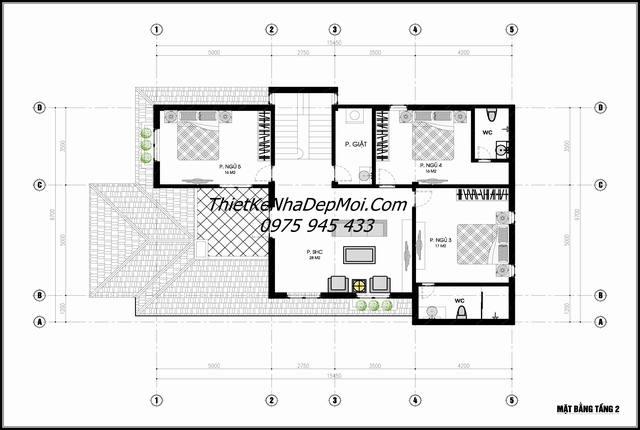 Bản vẽ tầng 2 biệt thự vườn 1 trệt 1 lầu