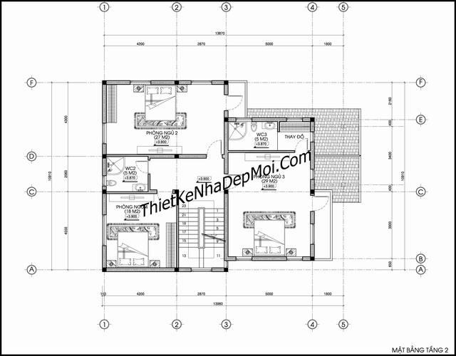 Mặt bằng nhà 3 tầng 5 phòng ngủ chữ L 10x14m