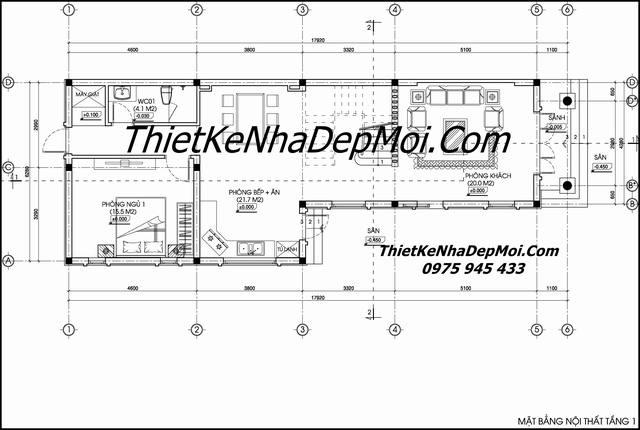Mặt bằng nhà 1 trệt 1 lầu mái thái 8x20m