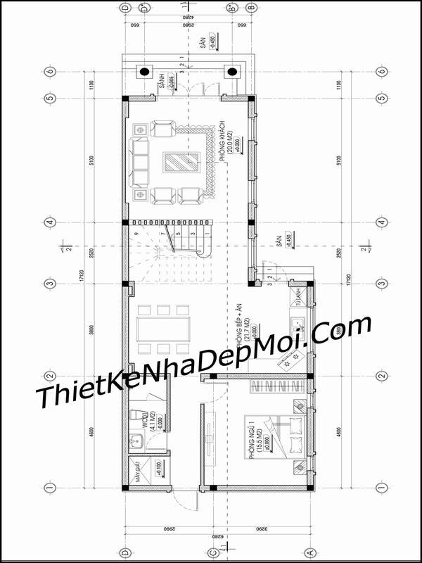 Mặt bằng nhà 2 tầng 6x20
