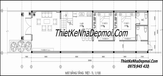 Bản vẽ nhà phố 1 trệt 1 lầu 5x20