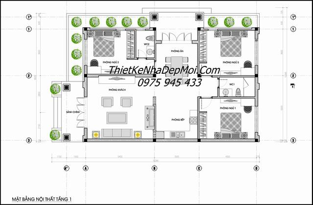 Mặt bằng biệt thự mini mái thái 10x15