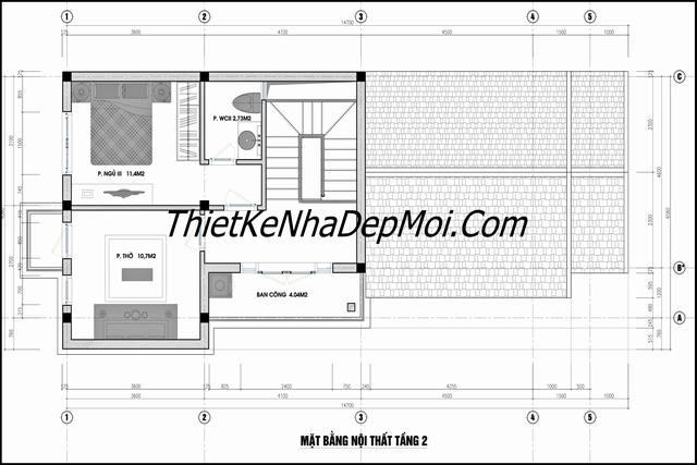 Bản vẽ nhà cấp 4 có gác lửng ngang 6m làm phòng ngủ