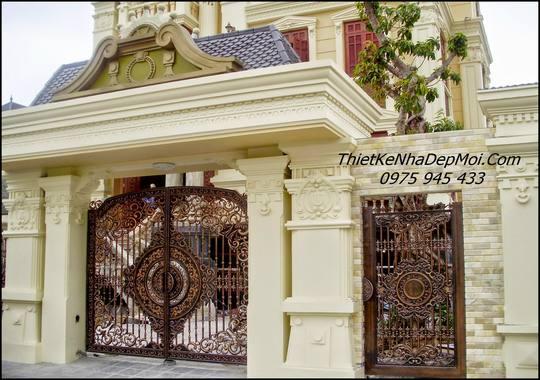 Mẫu trụ cổng xây đẹp thực tế biệt thự