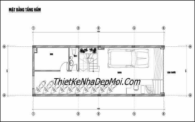 thiết kế nhà nghỉ có tầng hầm 5x20
