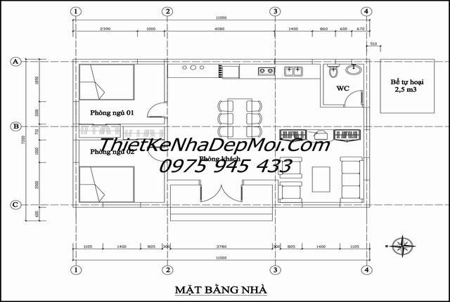 Bản vẽ nhà 3 gain mái bằng 2 phòng ngủ
