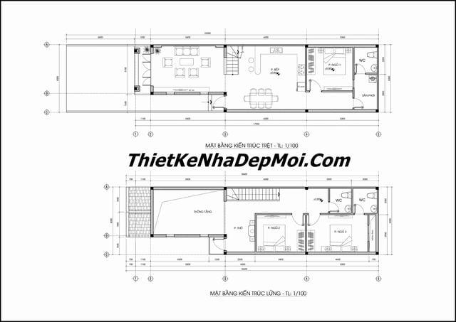 Bản vẽ nhà 1 tầng có gác lửng 5x18