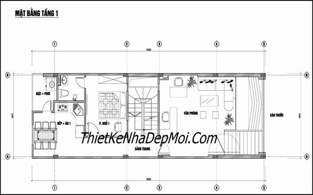 bản vẽ nhà nghỉ rộng 6m dài 20m
