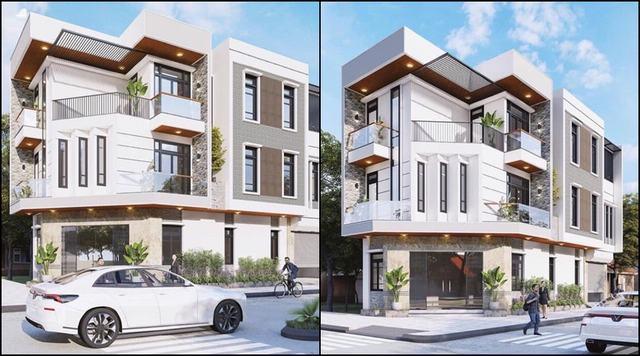 Nhà 3 tầng 2 mặt tiền giá rẻ đơn giản