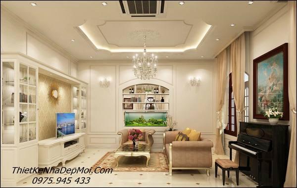 Mẫu phòng khách biệt thự phong cách tân cổ điển