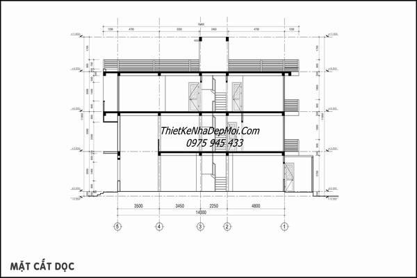 Bản vẽ nhà 3 tầng 4x16m