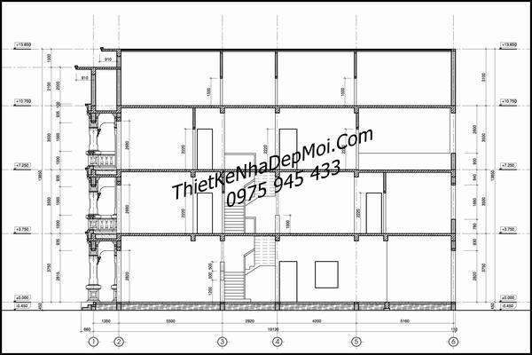 Mặt cắt nhà phố kiểu cổ điển 3 tầng 5x20