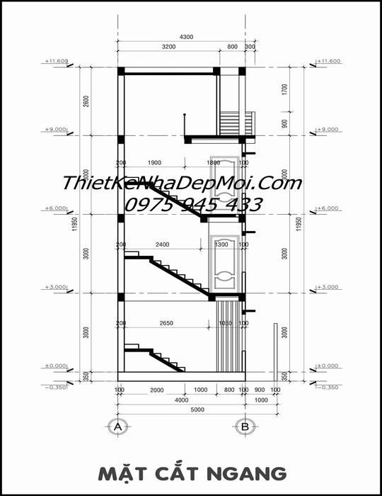 Bản thiết kế nhà ống có gara đơn giản 5m