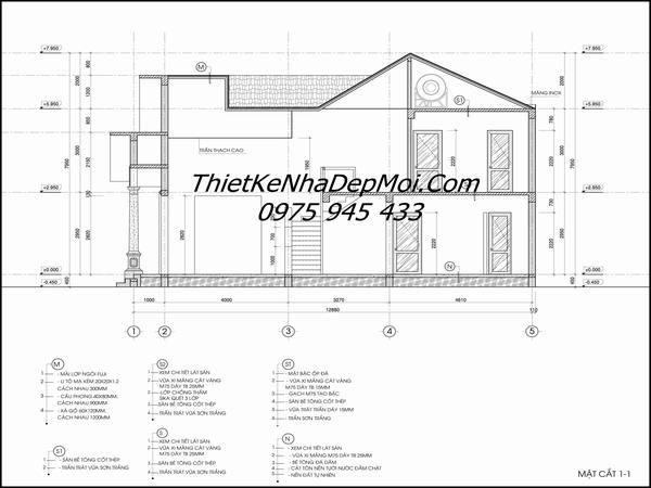 Bản vẽ thiết kế nhà cấp 4 có gác lửng đơn giản