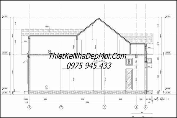 Mặt cắt bản vẽ xây nhà cấp 4 mái thái