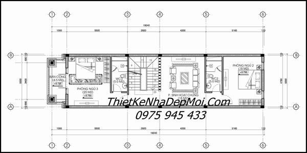 nhà phố mái thái kiểu pháp 1 trệt 2 lầu 5x20