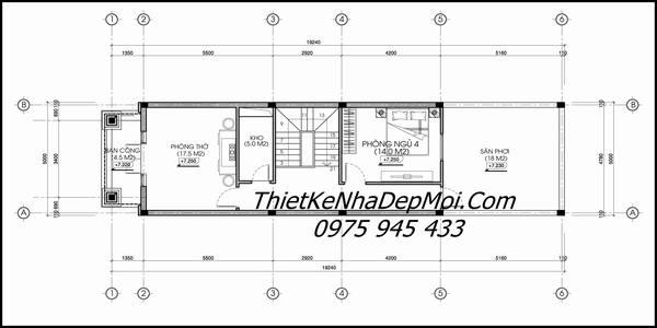 Bản vẽ nhà 3 tầng 5x20 mặt tiền phố