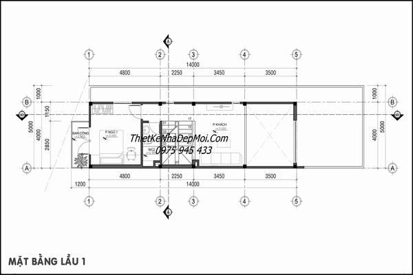 Bản vẽ tầng lửng nhà lệch tầng có gara 5m