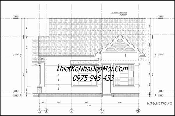 Bản vẽ nhà cấp 4 mái thái 13x10