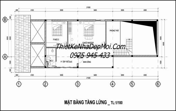 Mặt bằng nhà ống 2 tầng 5x20