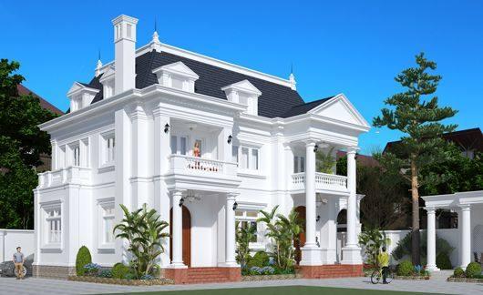 Kiến trúc đẹp biệt thự pháp mái Mansard