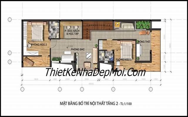 Mặt bằng tầng 2 nhà 2 tầng 2 tiền