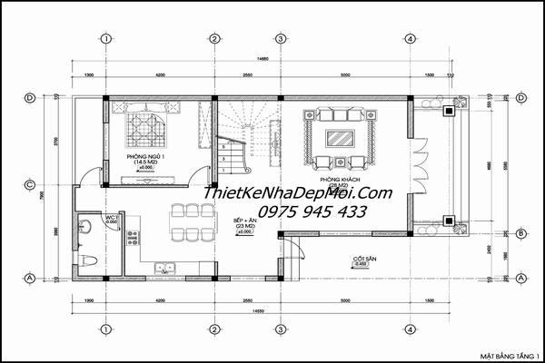 Mặt bằng nhà biệt thự 2 tầng 8x15m