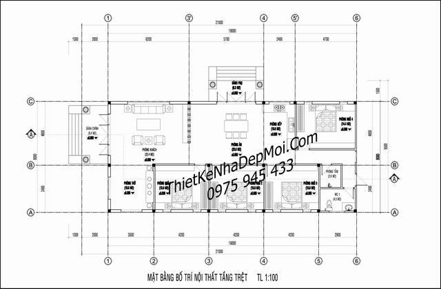 Bản vẽ nhà cấp 4 4 phòng ngủ 8x20