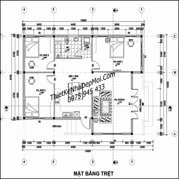 Bản vẽ thiết kế nhà hình vuông 1 tầng 10x10