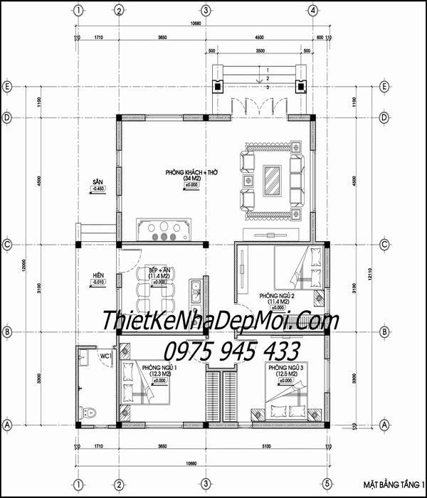 Mặt bằng nhà cấp 4 mái thái 10x15