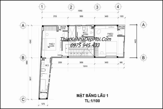 Mặt bằng thiết kế nhà 60m2 3 phòng ngủ