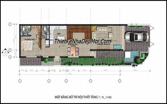 Mặt bằng tầng 1 nhà 2 mặt tiền 5x17m