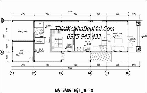 Mặt bằng nhà đẹp 2 tầng 5x20 mái thái