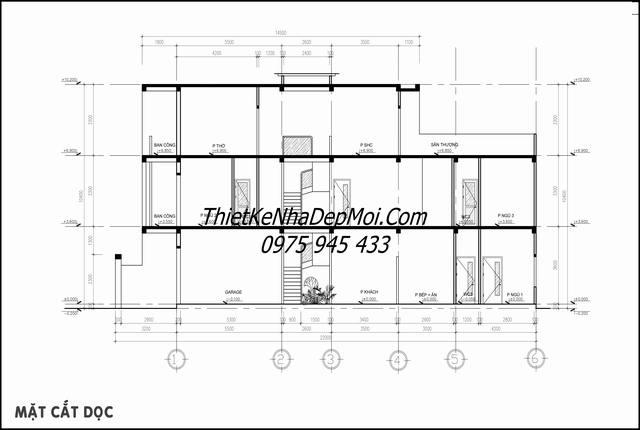 Bản vẽ thiết kế nhà 1 trệt 2 lầu sân thượng 5x20 thông thoáng