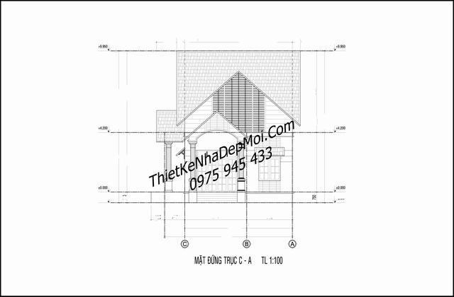 Mặt đứng nhà cấp 4 8x20