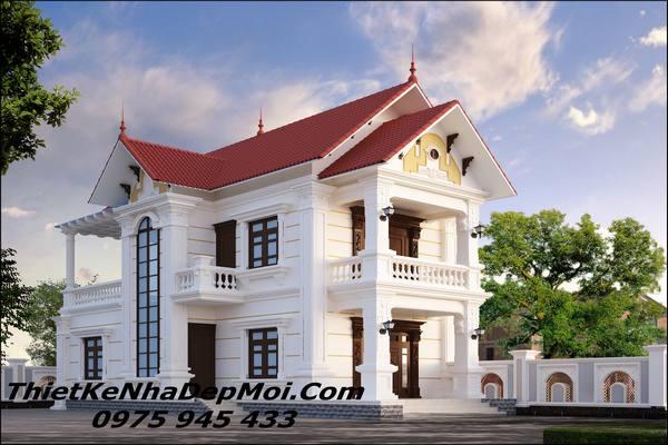 Mẫu nhà 2 tầng mái ngói đẹp ở nông thôn