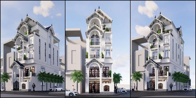 Mẫu nhà 5 tầng đẹp mặt tiền 6m 2019