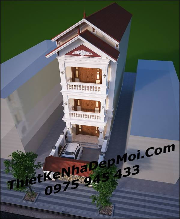 Mẫu nhà phố kiến trúc pháp mái thái đẹp