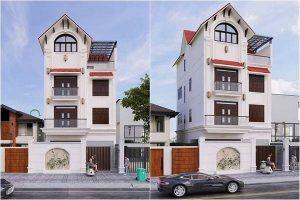 Mẫu nhà 4 tầng 8x10 mái thái